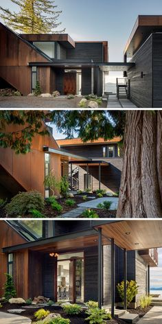Natural steel (weathered over time) and black stained cedar were chosen to blend this house in with the landscape, placing windows only as needed for light and connection with the neighborhood. Victorian Architecture, Architecture Old, Sustainable Architecture, Contemporary Architecture, Contemporary Houses, Drawing Architecture, Architecture Student, Architecture Portfolio, Futuristic Architecture