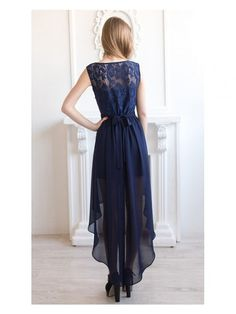 Bateau High-low Chiffon A-line Dress With bow And Lace top - Dress Afford Lace Top Dress, Chiffon Maxi Dress, Dress With Bow, High Low Bridesmaid Dresses, Navy Blue Prom Dresses, Wedding Bridesmaids, Illusion, Navy Blue Cocktail Dress, Beautiful Cocktail Dresses