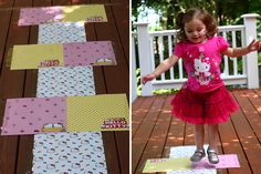 hopscotch with scrapbook paper squares (could tape on hardwood floor indoors!)