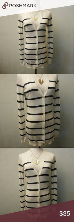 Ann Taylor long cardigan Ann Taylor long striped cardigan In great condition. Ann Taylor Sweaters Cardigans