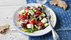 Greek salad |      This chunky summery salad is quick to make and packed with protein. The wholemeal pitta makes a high-fibre accompaniement.With a GI of 45, this meal is high protein, low GI and provides 374 kcal per portion.