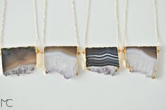 oh my word these are gorgeous. Amethyst Slice Necklace by mariacorcuera on Etsy, €32.00 ($44.33)