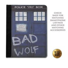 Leather tablet case -Doctor Who inspired Tardis BAD WOLF phone booth call box protective tablet case