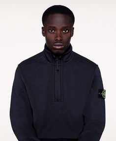 6415 Stone Island_SS'016_ 65558 Stand up collar top in stretch cotton fleece. Garment dyed.  stoneisland.com