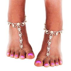 NEW-JEWSUN-Barefoot-Sandals-rhinestones-pearl-beads-Beach-Wedding-barefoot-dance