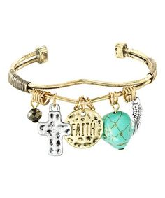 Loving this Simulated Turquoise & Gold 'Faith' Bangle on #zulily! #zulilyfinds