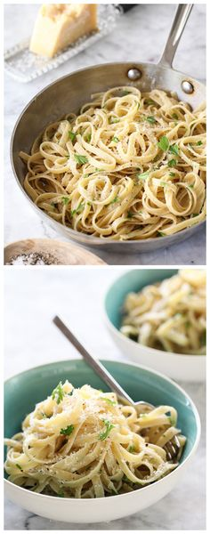 Easy Parmesan Butter Noodles #recipe is a super simple side for every season on foodiecrush.com #pasta #noodles