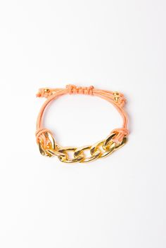 Chunky Chain Friendship Bracelet  --Love Peach and Gold another great addition to an outfit