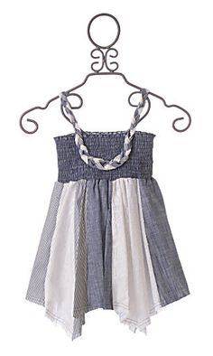 Little Mass Tru Luv Hysteria Tween Dress $64  Combining white dotted swiss, blue stripes, chambrey and white lace, this trendy tween girls dress is great for summer. Braided straps on the smocked bodice, hankerchief hem, unfinished hem.