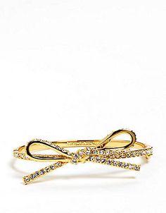 Kate spade Skinny Pave Bow Bangle Bracelet | Lord and Taylor