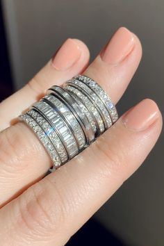 Antique diamond eternity bands featuring old Euro, baguette, carre, and French cut diamonds jewelry videos Vintage Wedding Bands Wedding Ring Hand, Wedding Ring Styles, Wedding Band Sets, Diamond Wedding Bands, Wedding Jewelry, Wedding Rings, Antique Wedding Bands, Emerald Jewelry, Eternity Bands