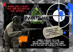 PAINT BALL Combat Camo Birthday Party Invitation. $17.00, via Etsy.