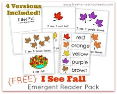 FREE I See Fall Emergent Reader Pack #homeschool #reading #fall