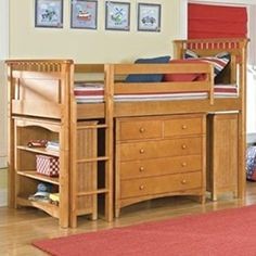 30 Cool Kids Bedroom Space Saving Ideas: Loft Bed And Bunk Beds With Closet And Hidden Storage Unit Underneath. Cool classic wooden loft bed with nice drawers and shelving unit underneath Space Saving Bedroom, Low Loft Beds, Space Saving Furniture Bedroom, Twin Loft Bed, Bunk Beds With Stairs, Bunk Bed Plans, Bed Storage, Loft Spaces, Small Kids Bedroom