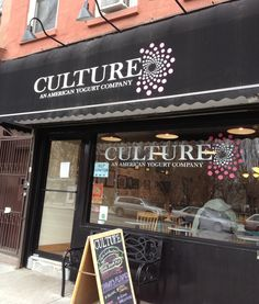 Culture An American Yogurt Company in Park Slope Ave, Brooklyn, NY) Park Slope Brooklyn, Frozen Yogurt Shop, Bars And Clubs, Man Party, Store Design, Places To Go, Nyc, Culture, American