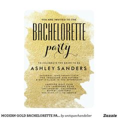 MODERN GOLD BACHELORETTE PARTY INVITATION