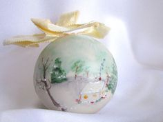 Vintage Hand Painted Christmas Ornament with by BythewaysideXmas