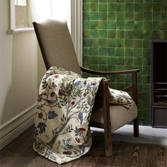 Shop for Fabric at Style Library: Kelmscott Tree by Morris & Co. Kelmscott Tree is a new design by Alison Gee. Inspired by Morris bed curtains at . Green Rooms, Painted Rug, British Design, Home, Furnishings, Craftsman Interior, William Morris, Tree Curtains, Curtains With Blinds