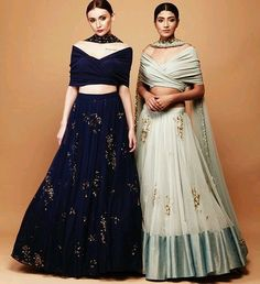 DS 17 602 Perfect match of Style & Tradition in these Beautiful high waist skirts paired with draped crop tops. Fabric - Crepe Silk, Soft Net, Lycra, Satin. Work - Sequence, Diamonte. Dupatta - Soft Net with sequence buttis all over. *Custom made outfits, can be made in any color of ur choice. For price, orders & other information DM or Whats App on +91 9930089059 Happy Shopping :) Regards, The DRESS SHOP Team. #bluelehenga #goldenwork #goldenlehenga #worklehenga #designer #dresssho