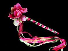 Real Touch Flower Girl Princess Wand - Wedding Wands - Bouquet Ribbon wands - Tropical Destination Wedding - Enchanted Fairy tale Party