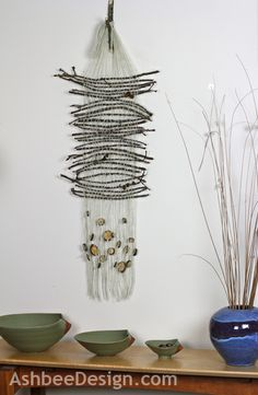 Marji at Ashbee Design created a oak twig off-loom weaving from Hurricane Sandy debris Crafts To Make, Home Crafts, Arts And Crafts, Loom Weaving, Hand Weaving, Cloth Paper Scissors, Weaving Wall Hanging, Fibre And Fabric, Hurricane Sandy