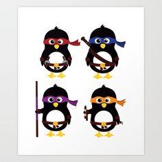 Penguin ninjas Art Print by Arpsara - $18.00