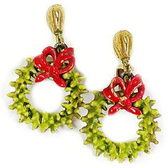 Wreath Drop Earrings Vintage Christmas Green Holiday Bow Gold Tone Clip On e506
