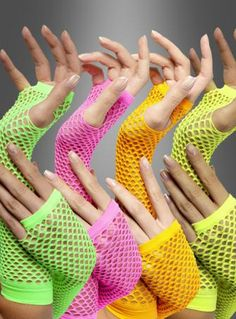 Netzhandschuhe Armstulpen neon 80er