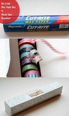 Calling all Washi Tape Addicts! Look at this way to Organize our Obsession! How awesome is this! Upcycled Wax Paper Box to Washi Tape Dispenser :: Hometalk Washi Tape Cards, Washi Tape Diy, Masking Tape, Washi Tapes, Duct Tape, Diy Washi Tape Dispenser, Diy Washi Tape Storage, Washi Tape Planner, Craft Room Storage