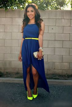 Gorgeous navy blue stylish maxi dress with electric lime leather belt and high heels electric lime pumps and yellow golden cute clutch and w...