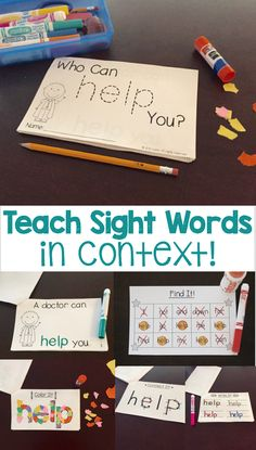 Students learn sight words in context of a short story, which includes a predictable phrase (emergent reader). Four other fun activities are included for students to practice sight word recognition, writing sight words, and fine Teaching Sight Words, Dolch Sight Words, Sight Word Activities, Book Activities, Preschool Activities, Activity Books, Teaching Resources, Teaching Ideas, Student Learning