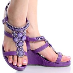 Purple Summer Fashion Beaded Dress Sandal Women's Platform Wedge Shoes - These are way cute too, still looking for THE best fit