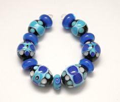 Set of Blue Tones Glass Beads Handmade Artisan by blancheandguy, $85.00