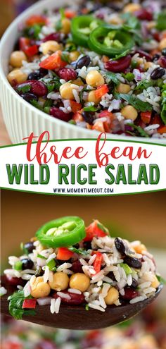 Too hot to cook during the summer? Using most ingredients found in your pantry, you can whip up this easy Wild Rice Three Bean Salad in a jiffy. Topped with a simple and flavorful dressing, this salad makes a gorgeous side dish or a light vegetarian dinner for your menu! Wild Rice Recipes, Rice Salad Recipes, Beef Recipes, Vegetarian Recipes, Cooking Recipes, Healthy Recipes, Rice Side Dishes, Vegetable Side Dishes, Recipes
