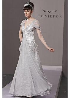 In Stock Fantastic A-line V-neck Natural Waist Full Length Beaded Evening Dress