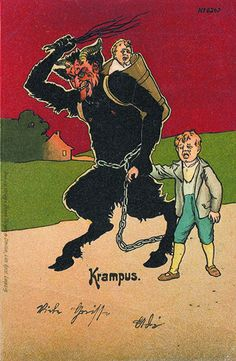71Z7-WJ2TTLPopular in German-speaking Alpine folklore, the figure of Krampus is a devil-like horned creature who punishes badly-behaved children during the Christmas season. - See more at: http://publicdomainreview.org/collections/greetings-from-krampus/#sthash.C9kB9Xdi.dpuf
