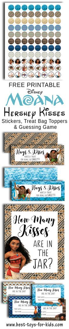 Free Printable Disney Moana Hershey Kiss Stickers, Treat Bag Toppers And Guess How Many Kisses In The Jar? Party Game