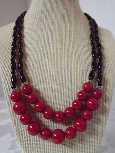 Red Jade and Onyx Necklace Set by CRawlinsCollection on Etsy