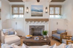 Like the look of the fireplace d design with board and bat and the simple yet solid mantle and even the lights