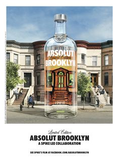 Absolut Brooklyn launched a limited edition vodka in their city series to celebrate Brooklyn. Absolut teamed up with native Spike Lee to illustrate  the brownstone stoop like the one Spike Lee grew up on.