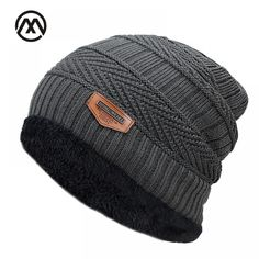 60b6a9b7ce2 New Men s winter Fall hat fashion knitted black ski hats Thick warm hat cap  Bonnet Skullies Beanie Soft Knitted Beanies Cotton