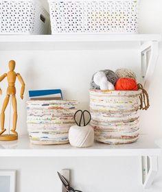 DIY Rag Rug Storage Baskets #diyragrughands