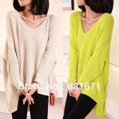 2013 Fall/Winter Korean Casual Fashion Quality Women Asymmetrical Oversized Loose Pullover Knitting Wool Sweater Solid Colors $25.89