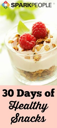 PERFECT!! I needed some new healthy snack ideas! Some good ones here for every day of the month!   via @SparkPeople #snack #diet #weightloss #healthyeating