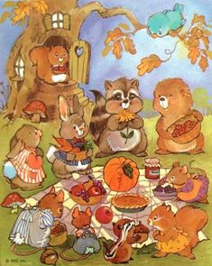 Sweet fall picnic with woodland creatures - artist unknown, source pin Vintage Illustration Art, Autumn Illustration, Vintage Artwork, Illustrations, Fall Picnic, Vintage Thanksgiving, Thanksgiving Feast, Pet Mice, Autumn Scenes