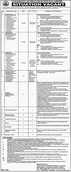 Teachers Jobs in University of Health Sciences Lahore
