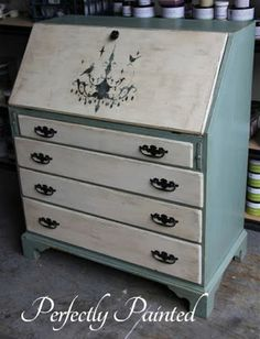Secretary Desk Makeover By Perfectly Painted Using Old Town Paints In French Blue and Old Town Cream - Featured On Furniture Flippin'