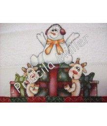 Projeto de Toalha de Mão Boneco de Neve e Renas
