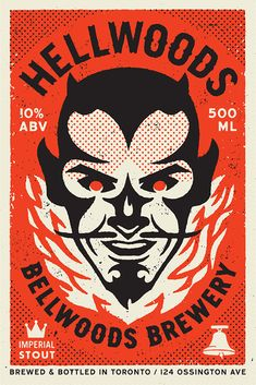 Hellwoods brewery devil illustration