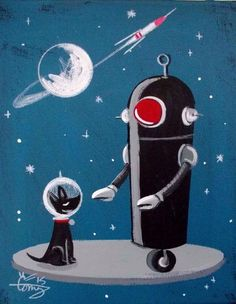 EL GATO GOMEZ PAINTING RETRO 1950S ROBOT DOG OUTER SPACE ROCKET SHIP SCI-FI  #Modernism